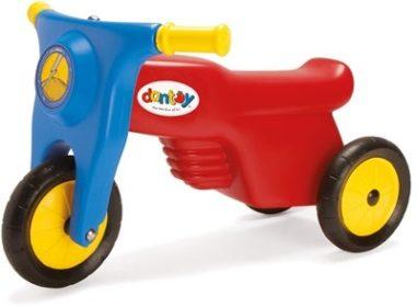 klassisk blå, rød og gul løbescooter