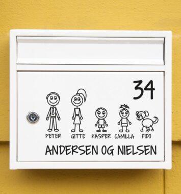 Klistermærker af familie på postkasse