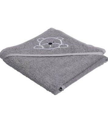 babyhåndklæde i grå med bamseprint