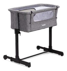 grå bedside crib