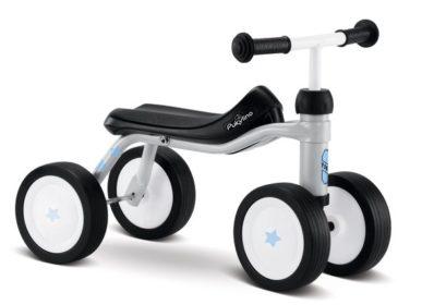 lysegrå firehjulet løbecykel