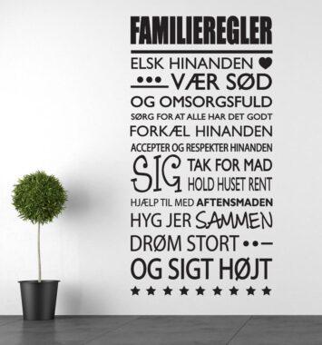 Vægklistermærke med familieregler