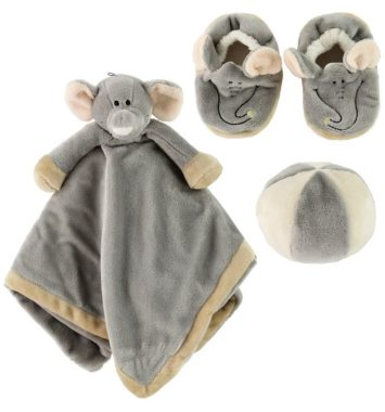 nusseklud, babyfutter og bold i elefant tema