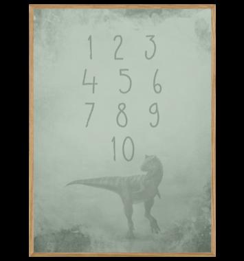 1-10 tal plakat med dinosaur