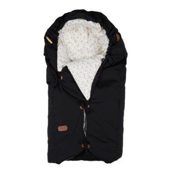 voksipose i sort med hvid plys